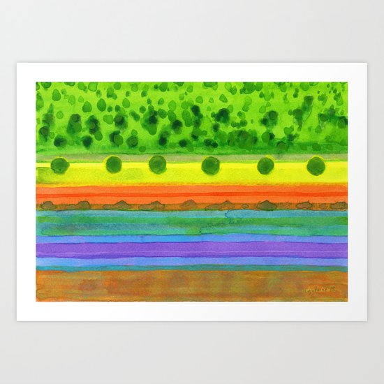 Plain with red Field Art Print