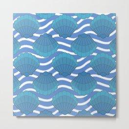 Vintage Seashell And Waves Pattern Metal Print
