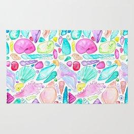 Rainbow Watercolor Seashells Rug