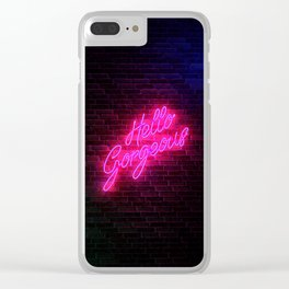Hello Gorgeous - Neon Sign Clear iPhone Case