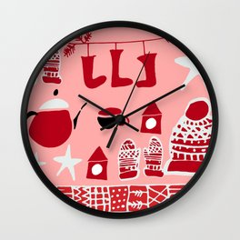 winter gear pink Wall Clock