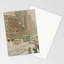 Fifth Avenue, Snowstorm, New York City landscape painting by Guy Carlton Wiggins Stationery Cards