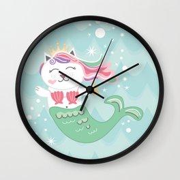 Purrmaid, Cat Mermaid Princess Wall Clock