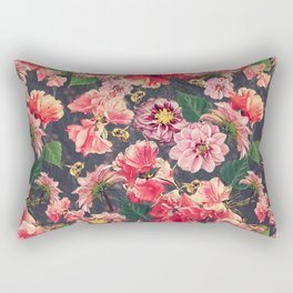 Vintage Flowers and Bees Rectangular Pillow