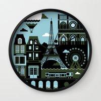 paris Wall Clocks featuring Paris by koivo