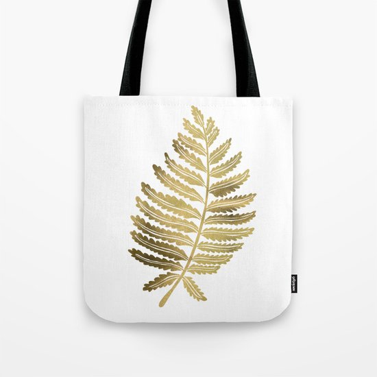 Golden Fern Leaf Tote Bag