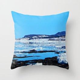 Winter Coastal Town Throw Pillow