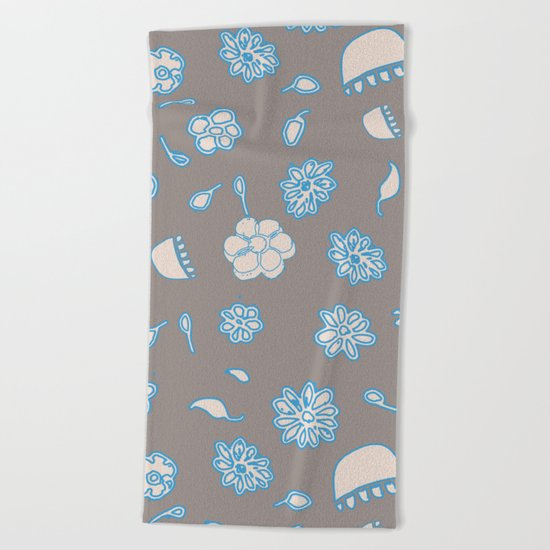 Flower border blue Beach Towel