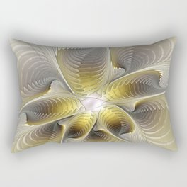 Gold And Silver, Abstract Flower Fractal Rectangular Pillow