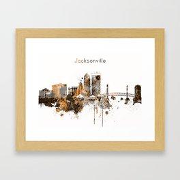 Jacksonville Warm Color Skyline Framed Art Print