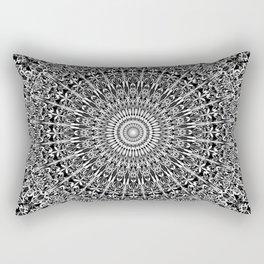 Grey Geometric Floral Mandala Rectangular Pillow