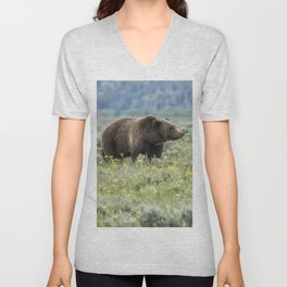 Smiling Grizzly #399 Unisex V-Neck
