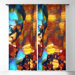 The Genius of Miles - African American Jazz Trumpeter portrait Blackout Curtain