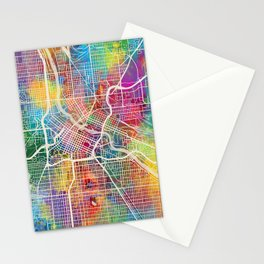 Minneapolis Minnesota City Map Stationery Cards