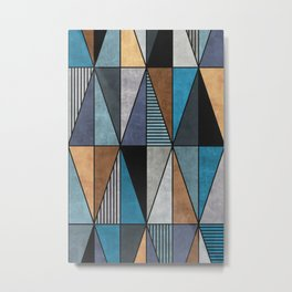 Colorful triangles - blue, grey, brown Metal Print