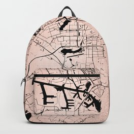 Amsterdam Rosegold on Black Street Map Backpack