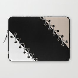Lacing . Black , white and beige . Laptop Sleeve