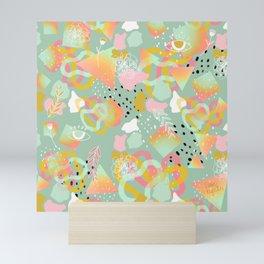 Rainbow Prism Candy Abstract Pattern Mint  Mini Art Print
