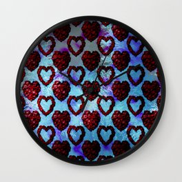 Gothic Rose Petal Hearts Wall Clock