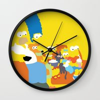 simpsons Wall Clocks featuring The Simpsons - Family by TracingHorses