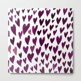 Valentines day hearts explosion - burgundy Metal Print