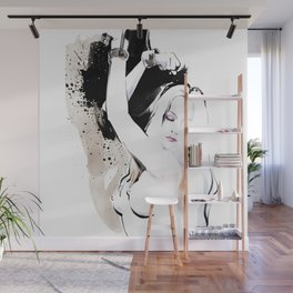 Beauty portrait, Woman slave handcuffs, Nude art, Black and white, Fashion painting Wall Mural