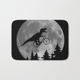 Biker t rex In Sky With Moon 80s Parody Bath Mat