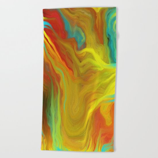 AGATE ABSTRACT OIL PAINTING Beach Towel