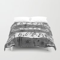calligraphy Duvet Covers featuring Calligraphy by Amy Gale
