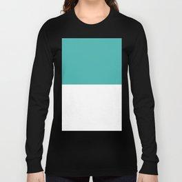 White and Verdigris Horizontal Halves Long Sleeve T-shirt