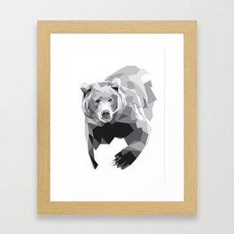 Geometric Bear on White Framed Art Print