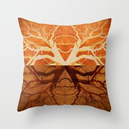 Tree Reflection of Copper Throw Pillow