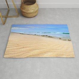 """Levante sea"" Tarifa beach at sunrise Rug"