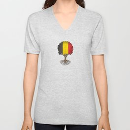 Vintage Tree of Life with Flag of Belgium Unisex V-Neck