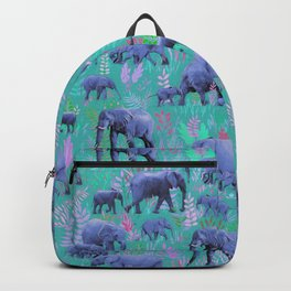 Sweet Elephants in Bright Teal, Pink and Purple Backpack