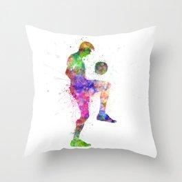 man soccer football player silhouette Throw Pillow