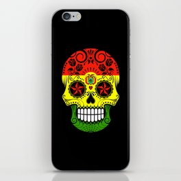 Sugar Skull with Roses and Flag of Bolivia iPhone Skin