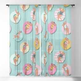 Summer gils on inflatable in swimming pool floats. Sheer Curtain