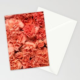 Coral Carnations Stationery Cards