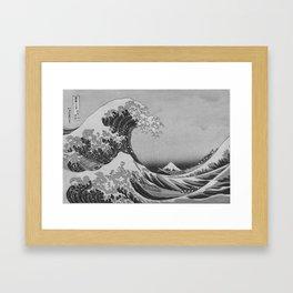 Black & White Japanese Great Wave off Kanagawa by Hokusai Framed Art Print