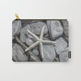 Starfish on Rocks monochrome beige Carry-All Pouch
