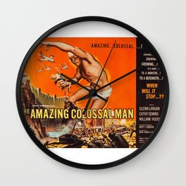 Colossalman, vintage horror movie poster Wall Clock