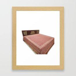 Ajrakh Print Fine Stitch Kantha Bedcover / Bedspread  Framed Art Print