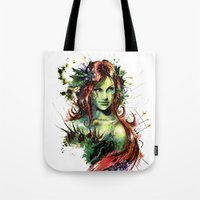 poison ivy Tote Bags featuring Poison Ivy by Vincent Vernacatola
