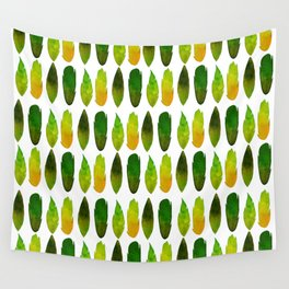Green-yellow feathers Wall Tapestry