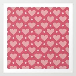 Pink Heart Dots Art Print