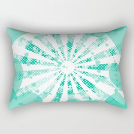 Pop art green illustration on the background of hearts Rectangular Pillow