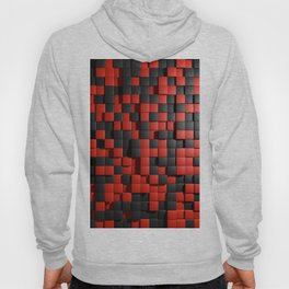 Abstract Black Red Modern 3D Tiles Hoody