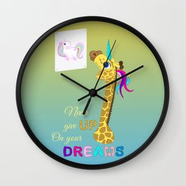 Unicorn - Never Give Up On Your Dreams Wall Clock
