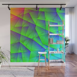 Bright fragments of crystals on irregularly shaped green and purple triangles. Wall Mural
